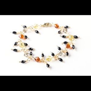 Jewelry - Orange yellow wire wrapped beaded bracelet